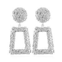 Zinklegierung Ohrringe, Edelstahl Stecker, Trapez, plattiert, für Frau, keine, frei von Blei & Kadmium, 35x75mm, verkauft von Paar