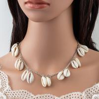 Zinklegierung Halskette, mit Muschel, Schale, plattiert, Twist oval & für Frau, keine, frei von Blei & Kadmium, verkauft per ca. 19.69 ZollInch Strang