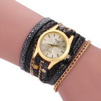 Wrap Uhr, PU Leder, mit Zinklegierung Zifferblatt & Glas, plattiert, mehrschichtig & binden & Twist oval & für Frau, keine, 25mm, 15mm, verkauft per ca. 18 ZollInch Strang