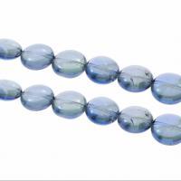 Natürlicher Quarz Perlen Schmuck, flachoval, bunte Farbe plattiert, verschiedene Größen vorhanden, Bohrung:ca. 1mm, verkauft per ca. 15.1 ZollInch Strang