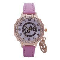 Damen Armbanduhr, Zinklegierung, mit PU Leder & Glas, goldfarben plattiert, für Frau & mit Strass, keine, frei von Nickel, Blei & Kadmium, 36mm, 8mm, 14mm, Länge:ca. 8.5 ZollInch, verkauft von PC