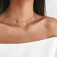 Zinklegierung Schmuck Halskette, Stern, plattiert, Oval-Kette & für Frau, keine, frei von Blei & Kadmium, verkauft per ca. 15.7 ZollInch Strang