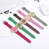 Damen Armbanduhr, PU Leder, mit Zinklegierung Zifferblatt & Glas, Edelstahl Dornschließe, plattiert, für Frau & mit Strass, keine, 42mm, Länge:ca. 9 ZollInch, verkauft von PC