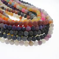 Natürliche Effloresce Achat Perlen, Auswitterung Achat, rund, keine, 8mm, Bohrung:ca. 1mm, ca. 48PCs/Strang, verkauft per ca. 15 ZollInch Strang