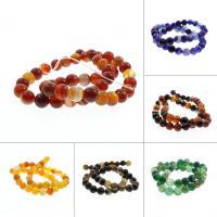 Natürliche Streifen Achat Perlen, rund, keine, 8mm, Bohrung:ca. 1mm, ca. 48PCs/Strang, verkauft per ca. 15 ZollInch Strang