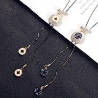 Zinklegierung Pullover Halskette, mit Kristall, plattiert, Schlangekette & für Frau & mit Strass, keine, verkauft per ca. 29.9 ZollInch Strang