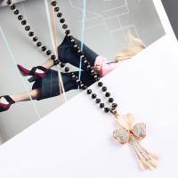 Zinklegierung Pullover Halskette, mit Kristall, plattiert, für Frau & mit Strass, keine, verkauft per ca. 29.9 ZollInch Strang