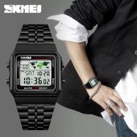 SKmei® Herren Schmuckuhr, Edelstahl, mit Glas & ABS Kunststoff, plattiert, für den Menschen & glänzend, keine, 33x45x10mm, Länge:ca. 8 ZollInch, verkauft von PC