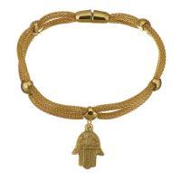 Edelstahl Armband, Hamsa, goldfarben plattiert, Armband  Bettelarmband & Laterne Kette & für Frau & 2 strängig, 15x21mm, 3mm, verkauft per ca. 8 ZollInch Strang