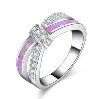 Messing Fingerring, mit Opal, versilbert, verschiedene Größen vorhanden & für Frau & mit Strass, frei von Nickel, Blei & Kadmium, verkauft von PC