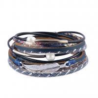 Rindsleder Armband, Kuhhaut, mit Perlen & Zinklegierung, Federn, plattiert, mehrschichtig & für Frau, keine, frei von Nickel, Blei & Kadmium, 13mm, verkauft per ca. 22.8 ZollInch Strang