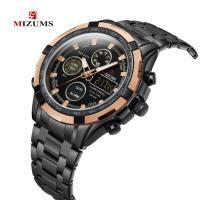 MIZUMS® Uhrenkollektion, Zinklegierung, mit Glas & Edelstahl, plattiert, für den Menschen & glänzend, keine, 46mm, Länge:ca. 8.6 ZollInch, verkauft von PC