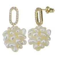 Messing Tropfen Ohrring, mit Glasperlen, vergoldet, Micro pave Zirkonia & für Frau, 15x28mm, verkauft von Paar