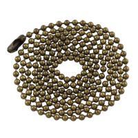 Messingkette Halskette, Messing, antike Bronzefarbe plattiert, Kugelkette, frei von Nickel, Blei & Kadmium, 2x2mm, Länge:ca. 22.8 ZollInch, ca. 85SträngeStrang/Tasche, verkauft von Tasche