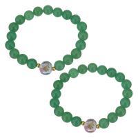 Achat Schmuck Armband, Edelstahl, mit Grüner Achat & Lampwork, goldfarben plattiert, für Frau, keine, 12x13mm, 10mm, verkauft per ca. 7 ZollInch Strang