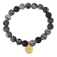 Edelstahl Armband, mit Synthetische Türkis, goldfarben plattiert, für Frau & mit Strass, 12x14mm, 10mm, verkauft per ca. 8 ZollInch Strang