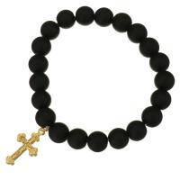 Schwarze Achat Armbänder, Edelstahl, mit Schwarzer Achat, Kreuz, goldfarben plattiert, für Frau, 14x25mm, 10mm, verkauft per ca. 8 ZollInch Strang