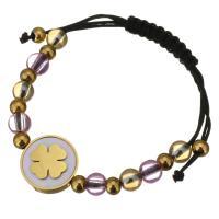 Edelstahl Woven Ball Armbänder, mit Glasperlen & Nylonschnur & Weiße Muschel, flache Runde, goldfarben plattiert, einstellbar & für Frau, 16mm, 5x6mm, verkauft per ca. 6-8 ZollInch Strang
