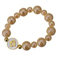 Edelstahl Armband, mit Weiße Muschel & Glasperlen, flache Runde, goldfarben plattiert, für Frau, 16mm, 12mm, verkauft per ca. 7 ZollInch Strang