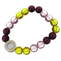 Edelstahl Armband, mit Glasperlen & Weiße Muschel, flache Runde, goldfarben plattiert, für Frau, 16mm, 10mm, verkauft per ca. 7 ZollInch Strang
