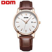 DOM® Uhrenkollektion, Edelstahl, mit Leder & Glas, plattiert, für den Menschen, Kaffeefarbe, 38mm, Länge:ca. 7.4 ZollInch, verkauft von PC