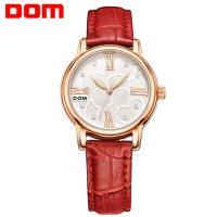 DOM® Uhrenkollektion, Leder, mit Glas & Edelstahl & Zinklegierung, plattiert, für Frau & mit Strass, keine, 32.5mm, Länge:ca. 7.7 ZollInch, verkauft von PC