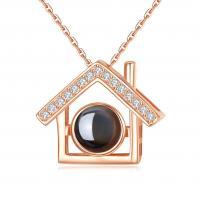 Messing mit Glas, Haus, plattiert, Oval-Kette & für Frau & mit Strass, keine, frei von Nickel, Blei & Kadmium, verkauft per ca. 17.5 ZollInch Strang