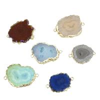 Messing Schmuckverbinder, mit Eisquarz Achat, Klumpen, goldfarben plattiert, 1/1-Schleife, keine, 30.5-43x22.5-32.5x4.5-6.5mm, Bohrung:ca. 2.5mm, verkauft von PC
