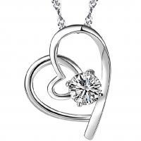 Sterling Silber Halsketten, 925 Sterling Silber, Herz, silberfarben plattiert, Twist oval & für Frau & mit Strass, keine, 16x18mm, verkauft per ca. 17.72 ZollInch Strang
