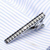 Krawatte Clip, Messing, silberfarben plattiert, für den Menschen & Emaille, frei von Nickel, Blei & Kadmium, 56x6mm, verkauft von PC