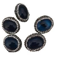 Natürliche blaue Achat Perlen, Blauer Achat, mit Ton, 19x18x12mm, Bohrung:ca. 0.5mm, 10PCs/Menge, verkauft von Menge