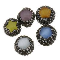 Cats Eye Perlen Schmuck, Katzenauge, mit Ton, 12x14x11mm, Bohrung:ca. 0.5mm, 10PCs/Menge, verkauft von Menge