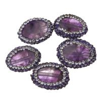 Natürliche Amethyst Perlen, mit Ton, 13-16x18-20x4-6mm, Bohrung:ca. 0.5mm, 10PCs/Menge, verkauft von Menge