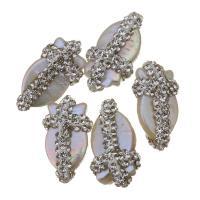 Natürliche kultivierte Süßwasserperlen Perle, mit Ton, Klumpen, 11-12x21-23x8-9mm, Bohrung:ca. 0.5mm, 10PCs/Menge, verkauft von Menge