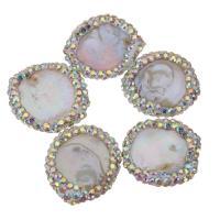 Natürliche kultivierte Süßwasserperlen Perle, mit Ton, Klumpen, 17-18x19-21x4-7mm, Bohrung:ca. 2.2mm, 10PCs/Menge, verkauft von Menge