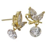 Messing Tropfen Ohrringe, Schmetterling, goldfarben plattiert, mit kubischem Zirkonia, klar, frei von Nickel, Blei & Kadmium, 12x18mm, verkauft von Paar