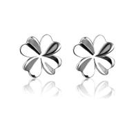 Sterling Silber Schmuck Ohrring, 925 Sterling Silber, vierblättriges Kleeblatt, plattiert, für Frau, keine, 7x7mm, verkauft von Paar