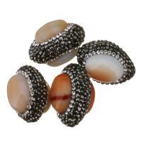 Chalzedon Perle, mit Ton, 18x26x18mm, Bohrung:ca. 0.5mm, 10PCs/Menge, verkauft von Menge