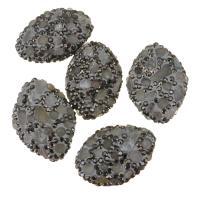 Strass Ton befestigte Perlen, Lehm pflastern, mit Labradorit, mit Strass, 20-22x28-30x11mm, Bohrung:ca. 1.5mm, 10PCs/Menge, verkauft von Menge