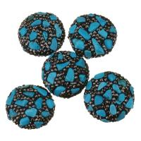 Strass Ton befestigte Perlen, Lehm pflastern, mit Synthetische Türkis, mit Strass, blau, 22-25x12mm, Bohrung:ca. 1mm, 10PCs/Menge, verkauft von Menge