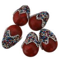 Strass Ton befestigte Perlen, Lehm pflastern, mit Graskoralle, mit Strass, 20x29x20mm, Bohrung:ca. 1mm, 10PCs/Menge, verkauft von Menge