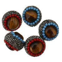 Strass Ton befestigte Perlen, Lehm pflastern, mit Tigerauge & Harz, mit Strass, 24-25x25-26x22mm, Bohrung:ca. 1mm, 10PCs/Menge, verkauft von Menge