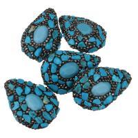 Strass Ton befestigte Perlen, Lehm pflastern, mit Synthetische Türkis, mit Strass, blau, 28-30x40-43x16-18mm, Bohrung:ca. 1mm, 10PCs/Menge, verkauft von Menge