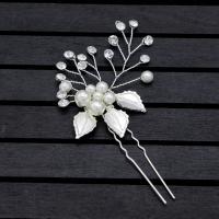 Braut Haarnadel, Zinklegierung, mit Kunststoff Perlen, plattiert, für Braut & mit Strass, keine, frei von Nickel, Blei & Kadmium, 130x50mm, verkauft von PC