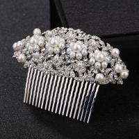 Braut Dekoratives Haarkämmchen, Zinklegierung, mit Kunststoff Perlen, Platinfarbe platiniert, für Braut & mit Strass, frei von Nickel, Blei & Kadmium, 115x65mm, verkauft von PC