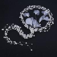 Braut Haarband, Messing, mit Kunststoff Perlen, silberfarben plattiert, für Braut, frei von Nickel, Blei & Kadmium, 550mm, 180-200mm, verkauft von PC
