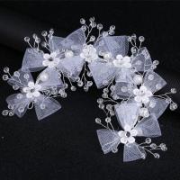 Braut Haar Blumen, Gaze, mit Kristall & Zinklegierung, silberfarben plattiert, frei von Nickel, Blei & Kadmium, 260x60mm, verkauft von PC