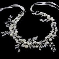 Kunststoff Perlen Schweißband, mit Stoff & Kristall & Zinklegierung, silberfarben plattiert, für Braut, frei von Nickel, Blei & Kadmium, 420x70mm, verkauft von PC