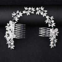 Braut Dekoratives Haarkämmchen, Zinklegierung, mit Kunststoff Perlen, Schmetterling, silberfarben plattiert, für Braut & mit Strass, frei von Nickel, Blei & Kadmium, 300x70mm, verkauft von PC