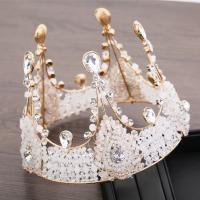 Krone, Zinklegierung, mit Kristall, goldfarben plattiert, für Braut & mit Strass, frei von Nickel, Blei & Kadmium, 140x110mm, verkauft von PC